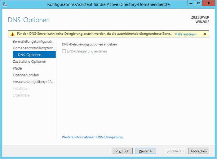 WinServ2012 ServerManager. Der Konfigurations-Assistent für Acrive Directory-Domänendienste. Das Fenster DNS Option.